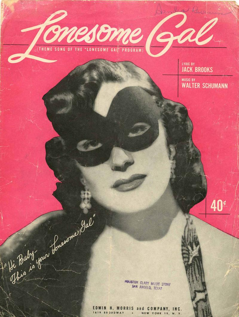 Sheet music for the Lonesome Gal theme song from 1951.