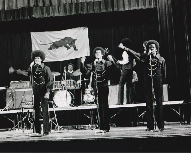 The Lumpen performing at Merritt College, 1970. Left to right: James Mott, Michael Torrance, and Clark Bailey.
