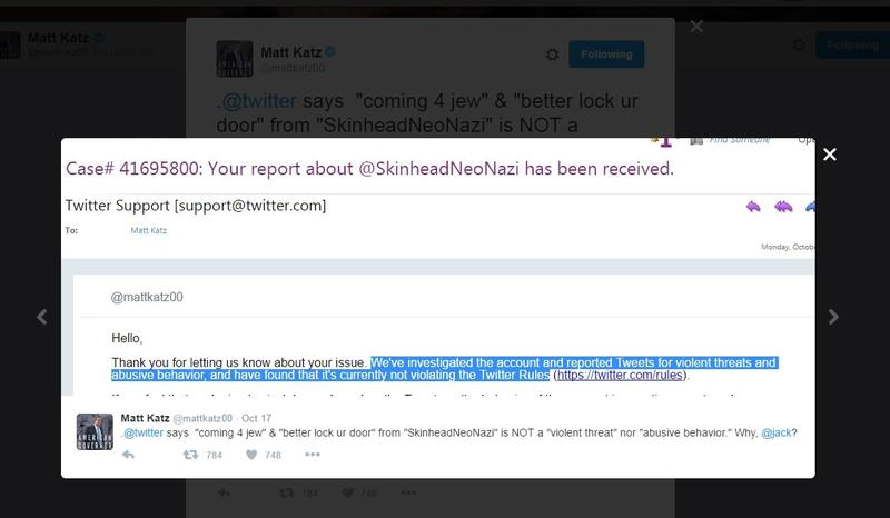 After WNYC's Matt Katz reported a Tweet, Twitter at first refused to take action