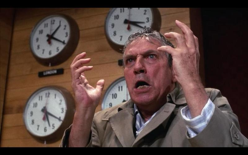 "A famous scene from the 1976 film ""Network"" in which Howard Beale (played by Peter Finch) explodes with rage."