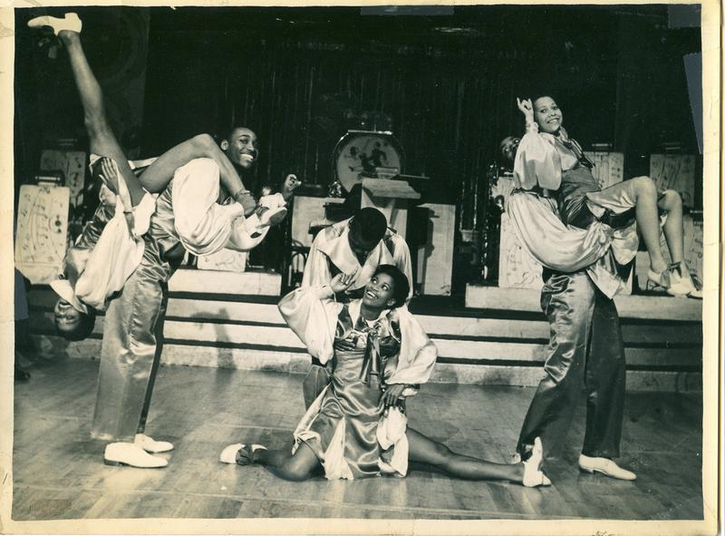 Whyte's Hopping Maniacs performing at the Moulin Rouge in Paris, summer 1937. (Left to right) Naomi Waller and Frankie Manning, Lucille Middleton and Jerome Williams, Mildred Cruse and Billy Williams.