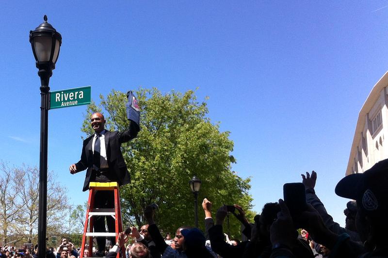 Mariano Rivera at the Bronx street naming on May 5, 2014