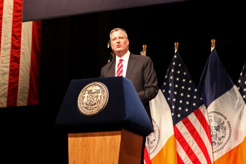 Mayor Bill de Blasio delivers his first State of the City address at LaGuardia Community College on February 10, 2014.