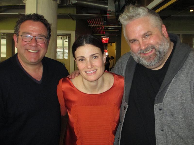 Michael Greif, Idina Menzel and Brian Yorkey in the WNYC studios