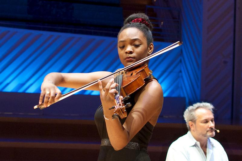 Violist Mira Williams at the New World Center in Miami.