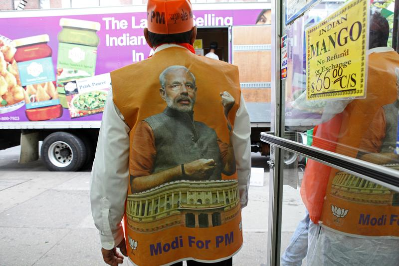 Supporters of Narenda Modi celebrating his election at the Patel Brothers grocery store in Jackson Heights, Queens.