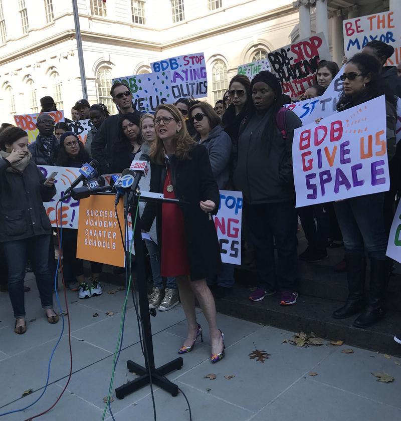 Success Academies Charter Leader Eva Moskowitz outside City Hall