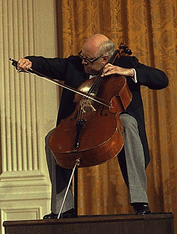 Mstislav Rostropovich playing the Duport Stradivarius at the White House September 17, 1978.