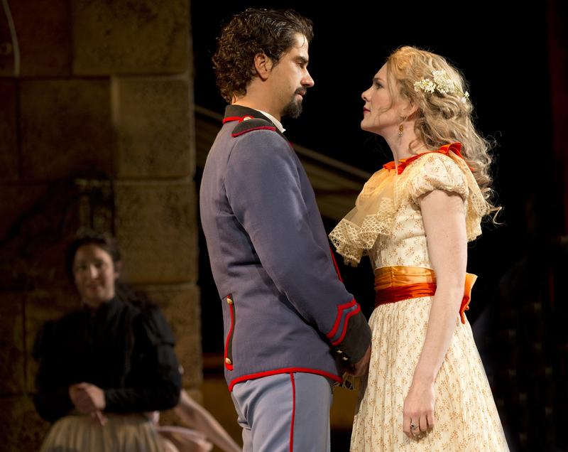 Lily Rabe and Hamish Linklater in The Public Theater's free Shakespeare in the Park production of Much Ado About Nothing, at the Delacorte Theater in Central Park through July 6, 2014.