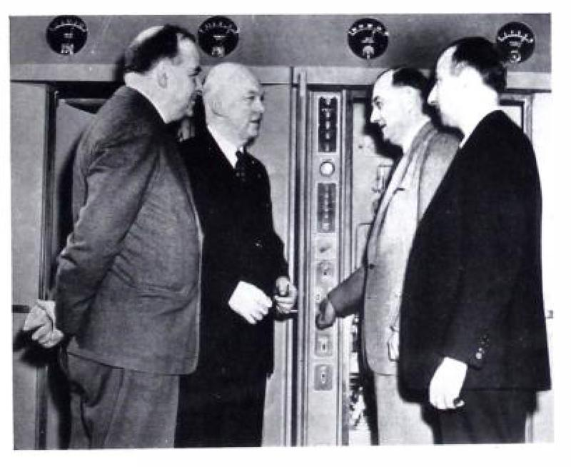 Western Electric Vice President F. R. Lack, Major Armstrong and Deputy Mayor Bennett and WNYC Director Seymour N. Siegel, February 11, 1948.