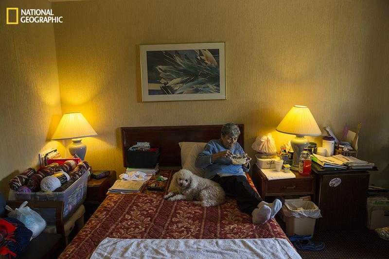 Rosemarie Patronella, 74, eats a lunch of ramen noodles and buttered rice in her room at a Ramada in Houston. Hunger among the elderly is particularly severe in Texas and has risen since 2007.