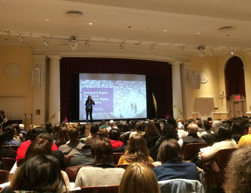 A large crowd turned out for a teach-in on immigrant rights at New York University's Law School