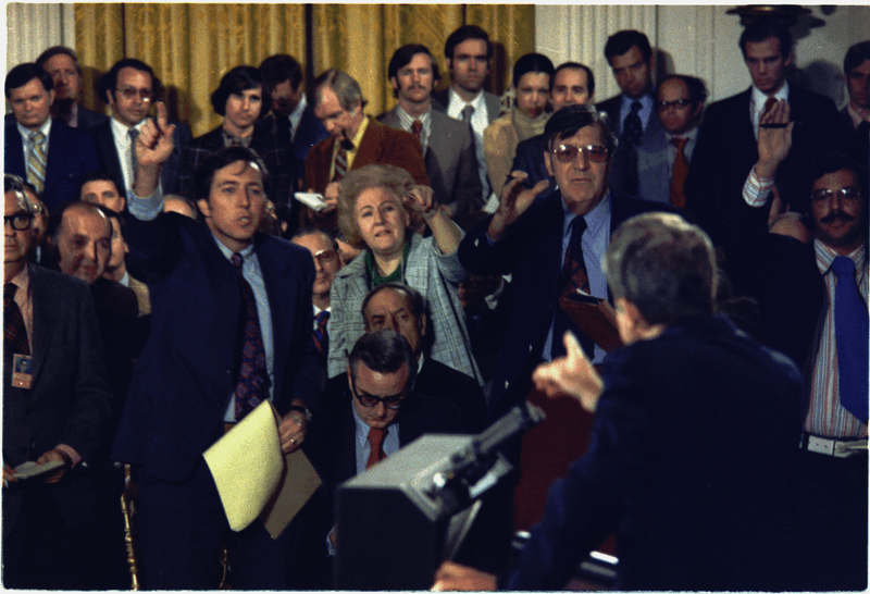 President Richard Nixon takes questions from reporters at a press conference in 1973.