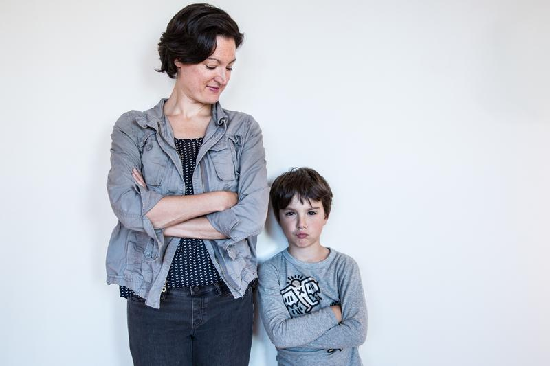 Host Mary Harris and her son Leo mirroring each other - kind of.
