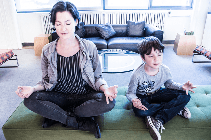 Host Mary Harris and her son Leo take a few minutes out of their day to find some solitude.