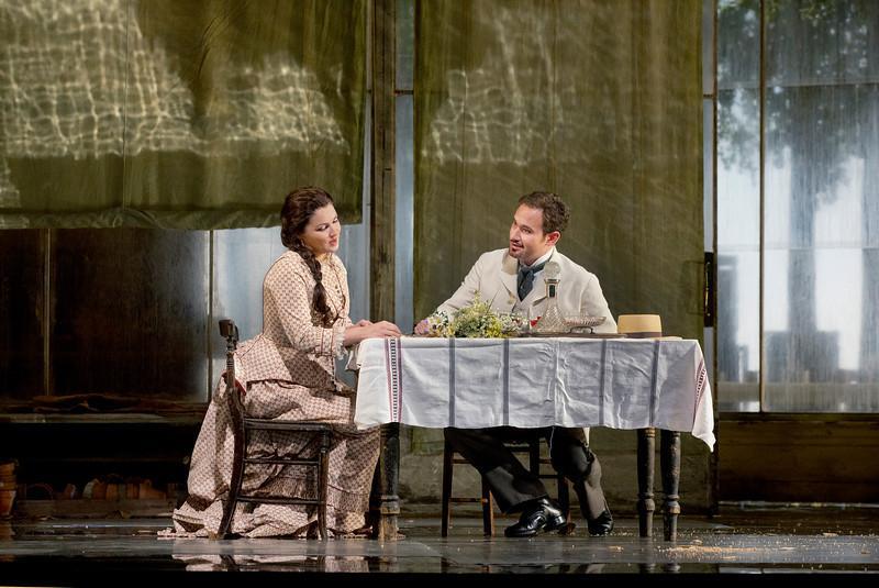 "Anna Netrebko as Tatiana and Mariusz Kwiecien as the title character of Tchaikovsky's ""Eugene Onegin."""