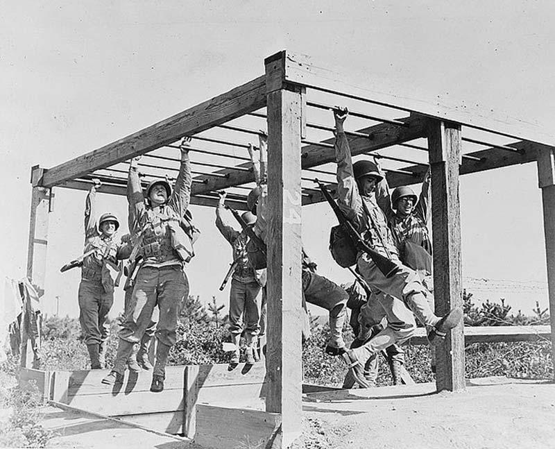 Army training obstacle course during World War II.