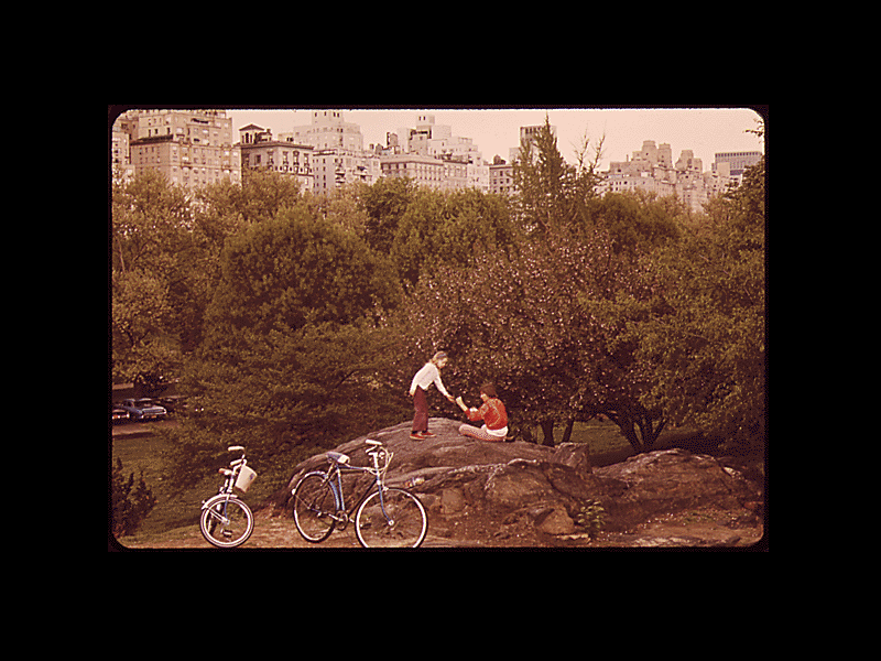 Bicyclists in Central Park. May 1973.