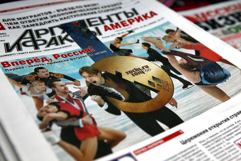 Olympic coverage on the cover of a local Russian paper in Brighton Beach, Brooklyn.