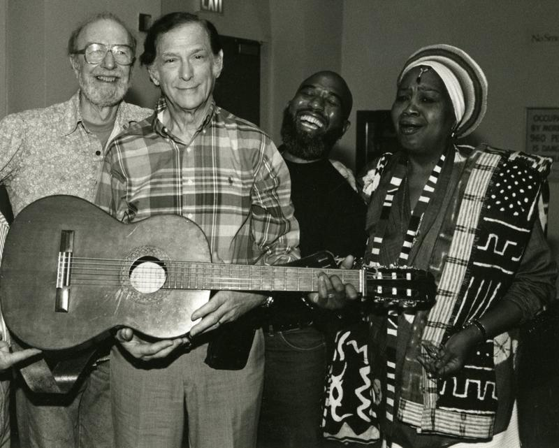 Oscar Brand with Pete Seeger, Josh White Jr., and Odetta for Oscar's 50th anniversary in 1995.