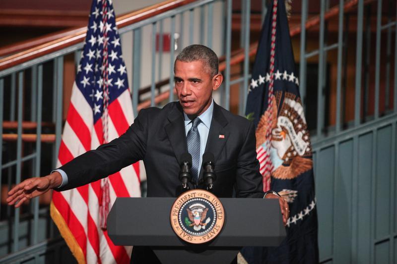 President Obama speaking at Rutgers University in Newark about criminal justice reform.