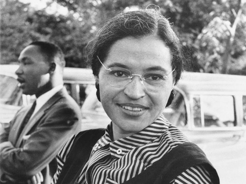 Photograph of Rosa Parks with Dr. Martin Luther King jr. in 1955