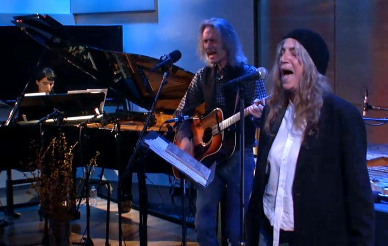 Jesse Paris Smith, Lenny Kaye, and Patti Smith in The Greene Space