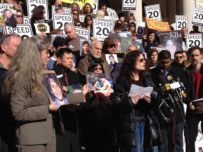 "Dana Lerner, whose 9-year-old son Cooper Stock was killed by a cab  in January, speaks at a ""Families for Safe Streets"" rally at City Hall"