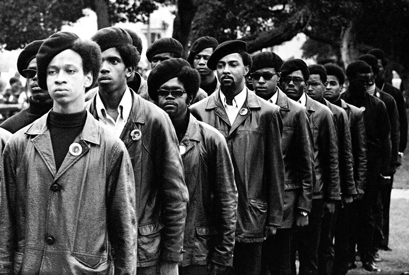 Panthers line up at rally in DeFremery Park, Oakland, July 28, 1968.