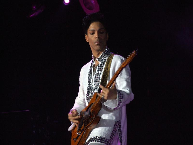 Prince performs at Coachella in 2008.