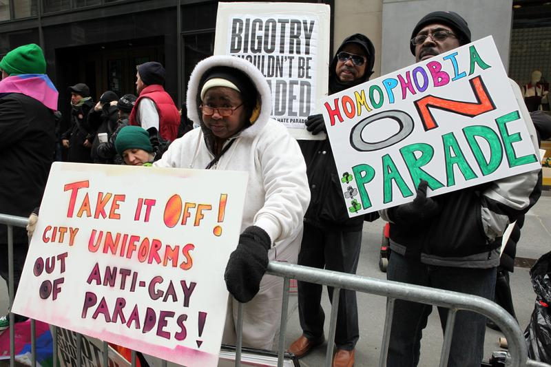 Protesters picketed the exclusion of LGBT groups at the annual St. Patrick's Day Parade on March 17, 2014.