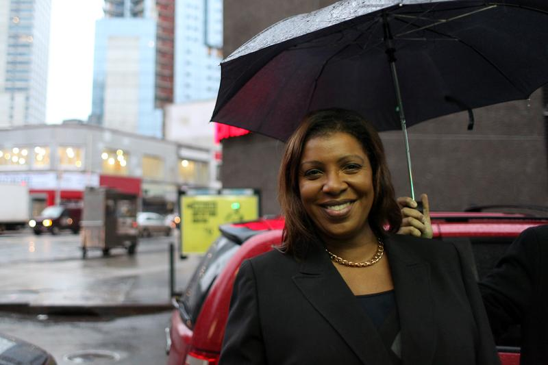 Public Advocate Letitia James heads to Albany to rally for education funding in the state budget on January 14, 2013.