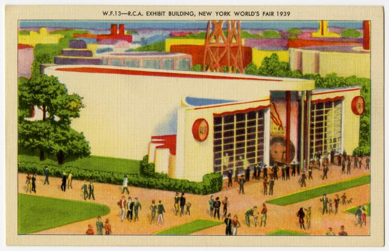 Postcard featuring the RCA Exhibit Building at the 1939 World's Fair