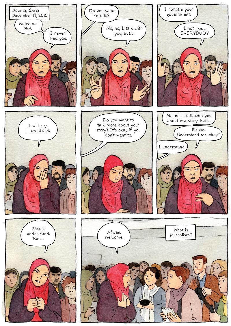 "A page from Sarah Glidden's ""Rolling Blackouts: Dispatches from Turkey, Syria, and Iraq"" published by Drawn and Quarterly."