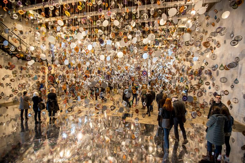 "Crowds attend the opening of Nick Cave's ""Until"" at Mass MoCA"