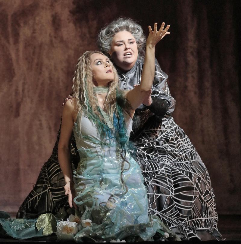 Kristine Opolais in the title role and Jamie Barton as Ježibaba in Dvořák's Rusalka. Photo by Ken Howard/ Metropolitan Opera.