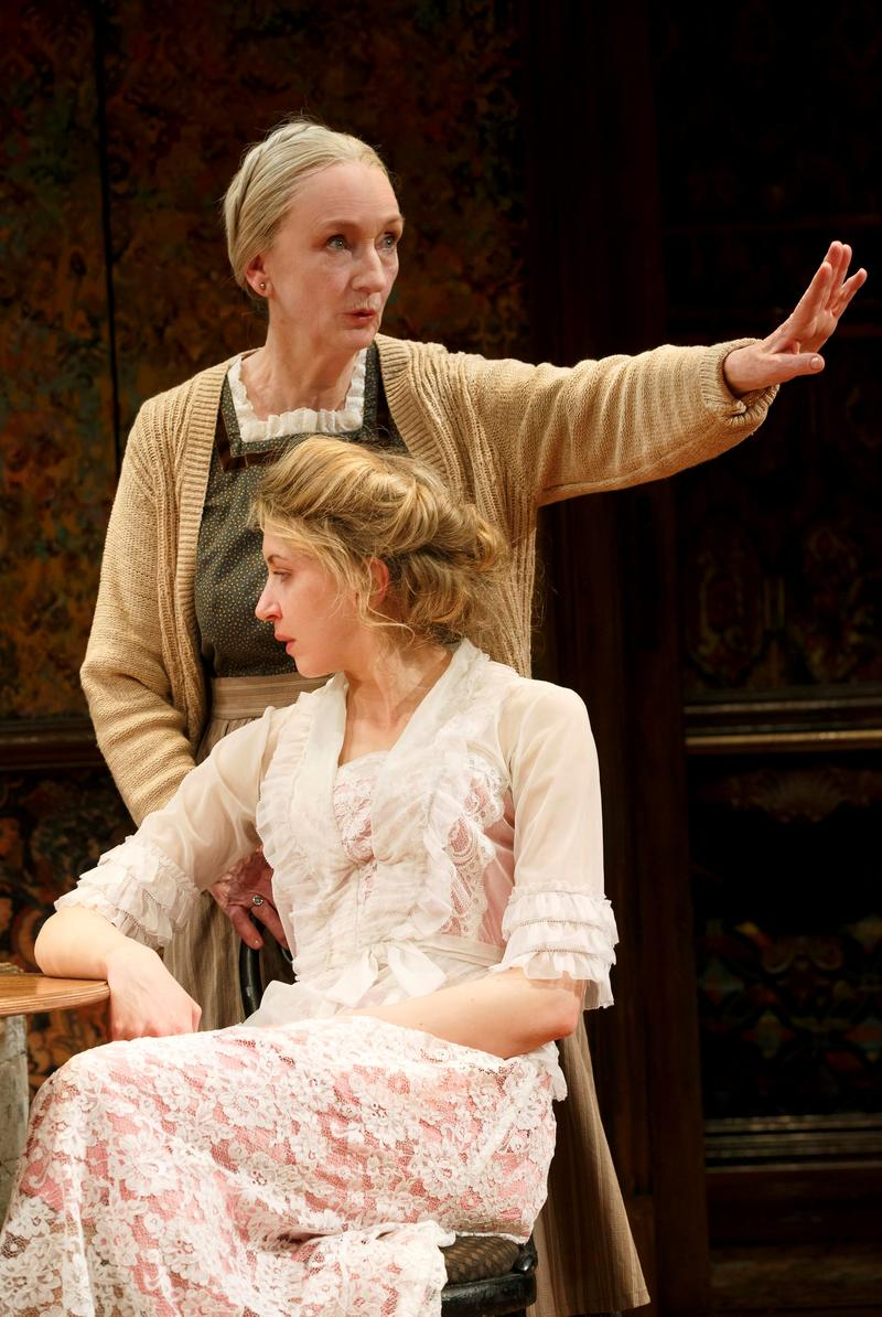 "Kathleen Chalfant and Nina Arianta in David Grimm's ""Tales from Red Vienna,"" directed by Kate Whoriskey, at Manhattan Theatre Club at New York City Center - Stage 1"