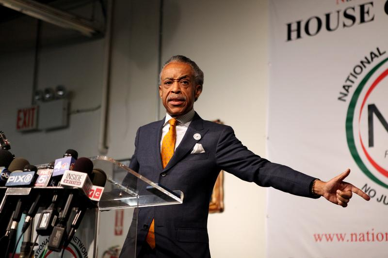 Rev. Al Sharpton speaking at his National Action Network headquarters in East Harlem about reports that he was an FBI informant in the 1980s.