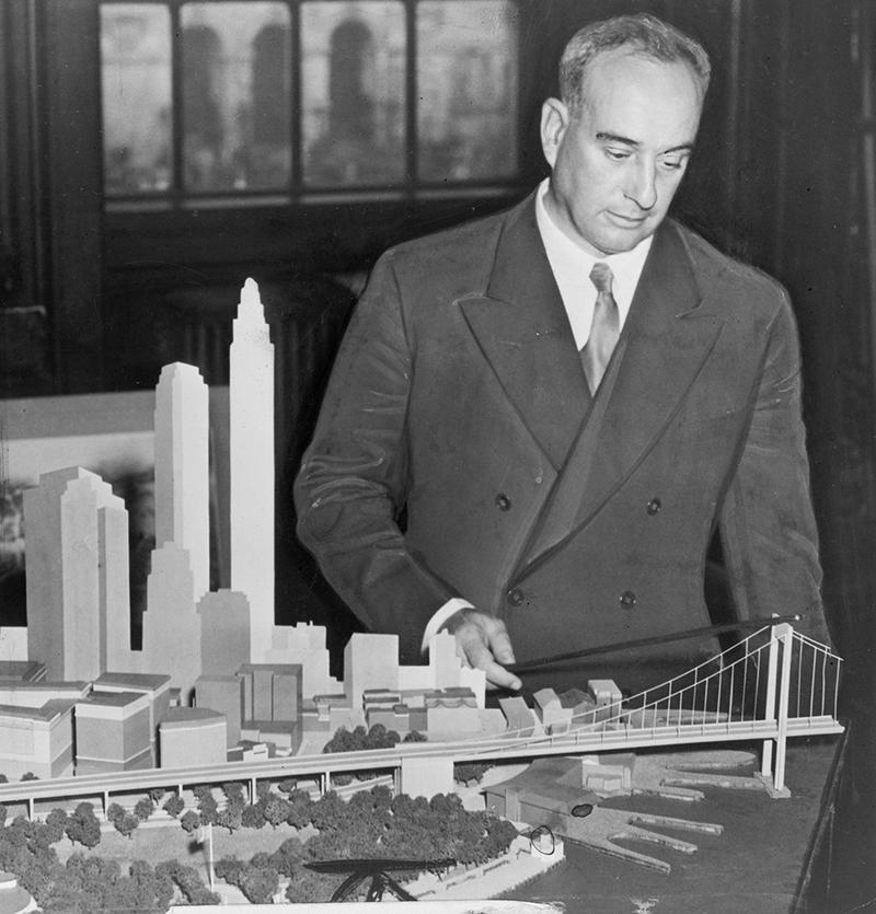 Robert Moses with Battery Bridge model in 1939.