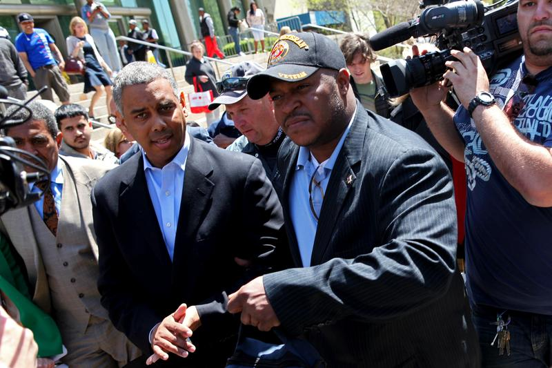 City Councilman Ruben Wills leaving Queens Criminal Court after being indicted on corruption charges on May 7, 2014.