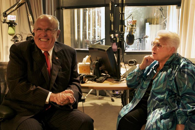 Former New York City Mayor Rudolph Giuliani and mezzo Marilyn Horne share a laugh in the studio following their interview.