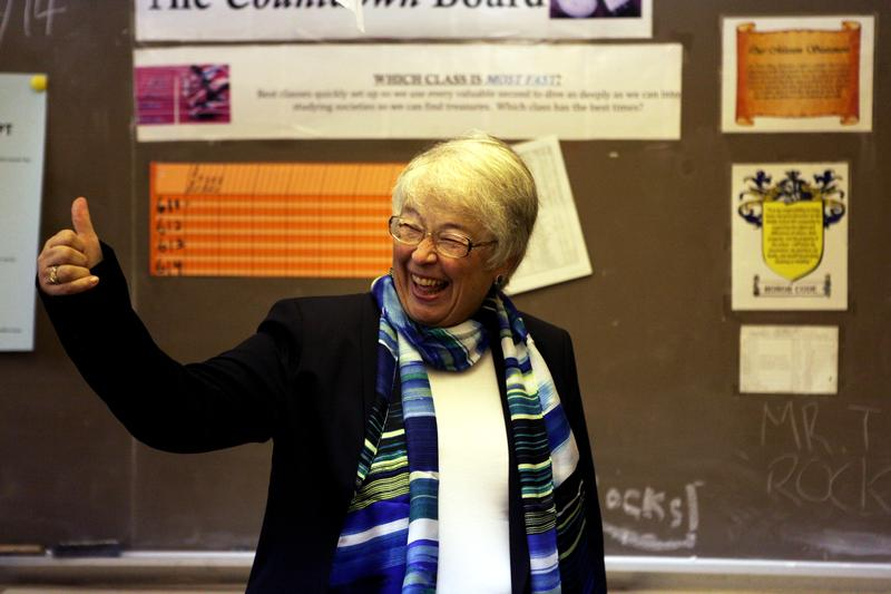 Schools Chancellor Carmen Fariña visiting a middle school in April, 2014