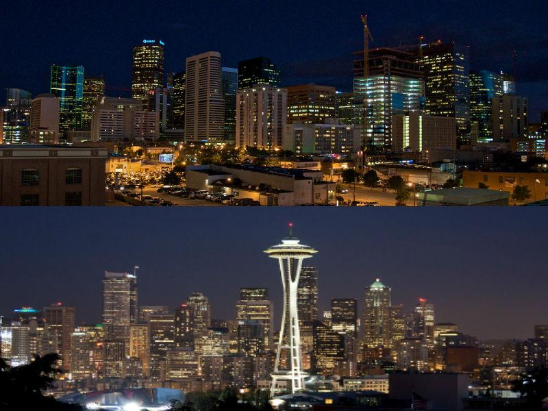 The Denver and Seattle skylines.