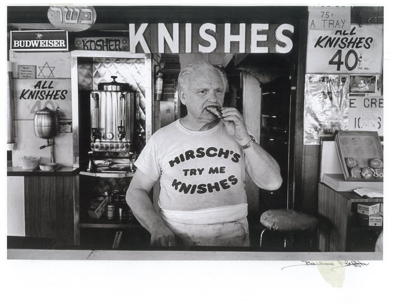 Mano Hirsch, of the eponymous knish shop on Brighton Beach. Sign in the upper left says, in Hebrew letters, Kosher.