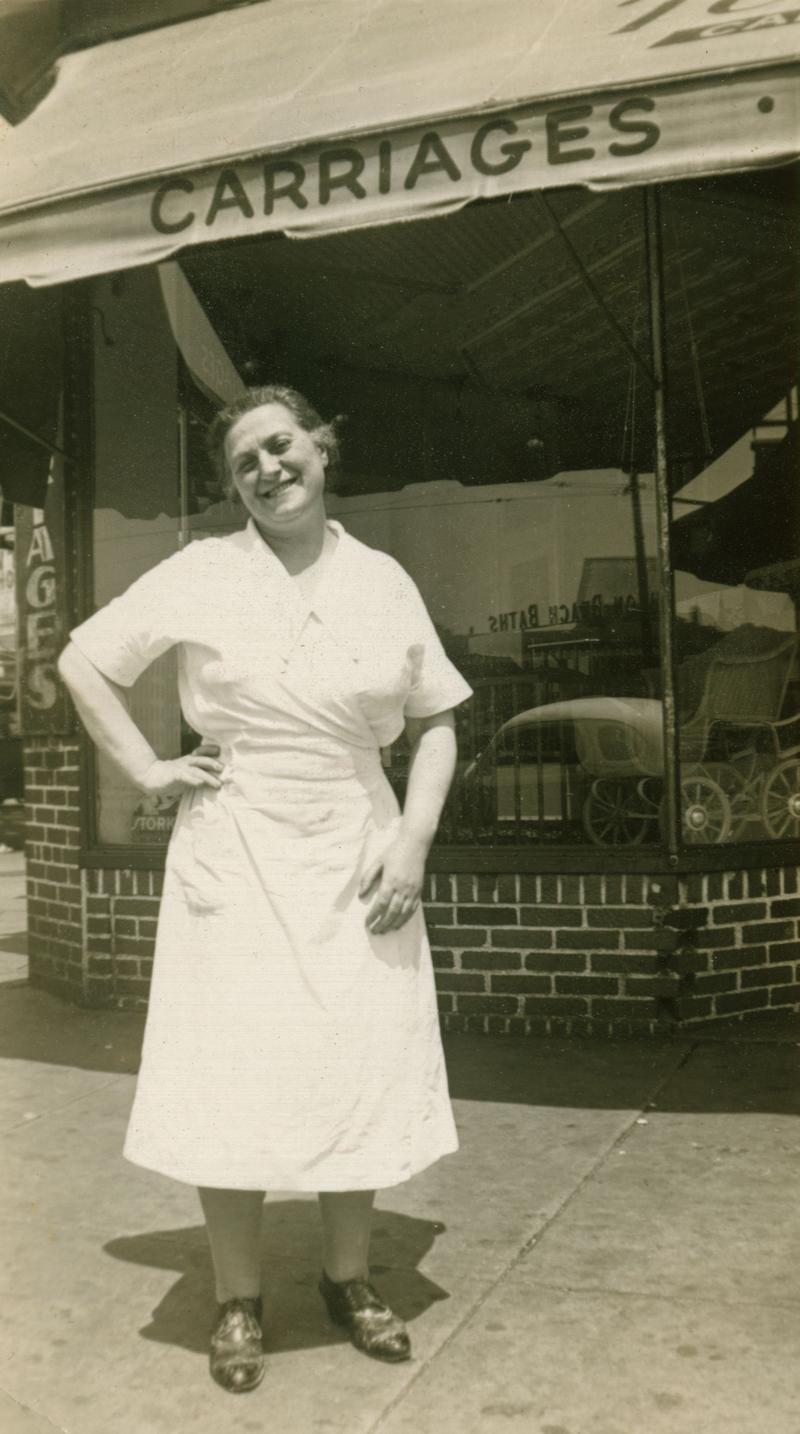 Mrs. Stahl on the corner of Brighton Beach and Coney Island Avenues, near her shop, circa 1940s.