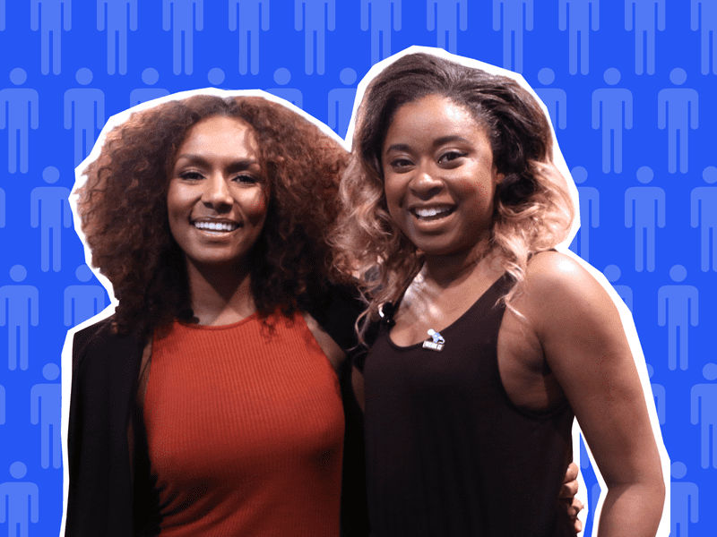 Phoebe Robinson and Janet Mock in conversation at a live taping of the Sooo Many White Guys podcast