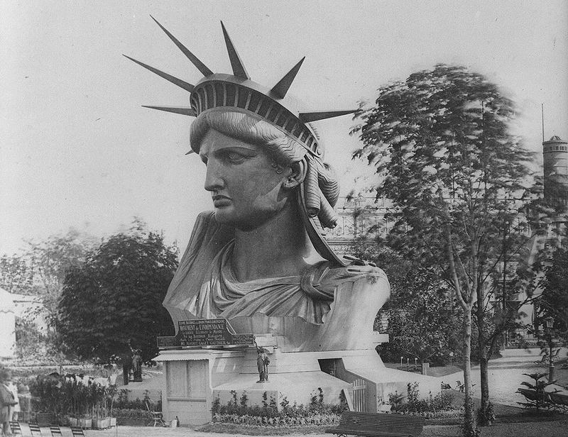 Bartholdi displayed the statue's head at the 1878 world's fair in Paris. Proceeds from postcard and souvenir sales helped fund Liberty's construction.