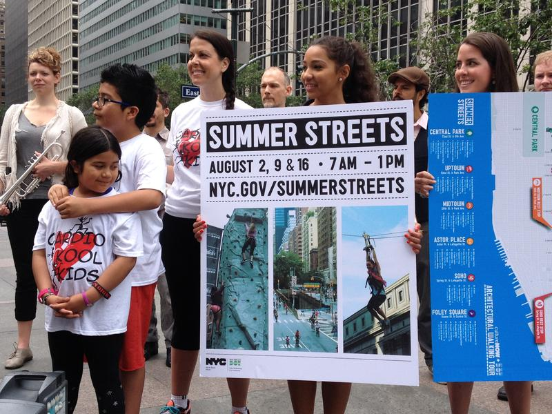 At the press conference announcing NYC DOT's Summer Streets program.