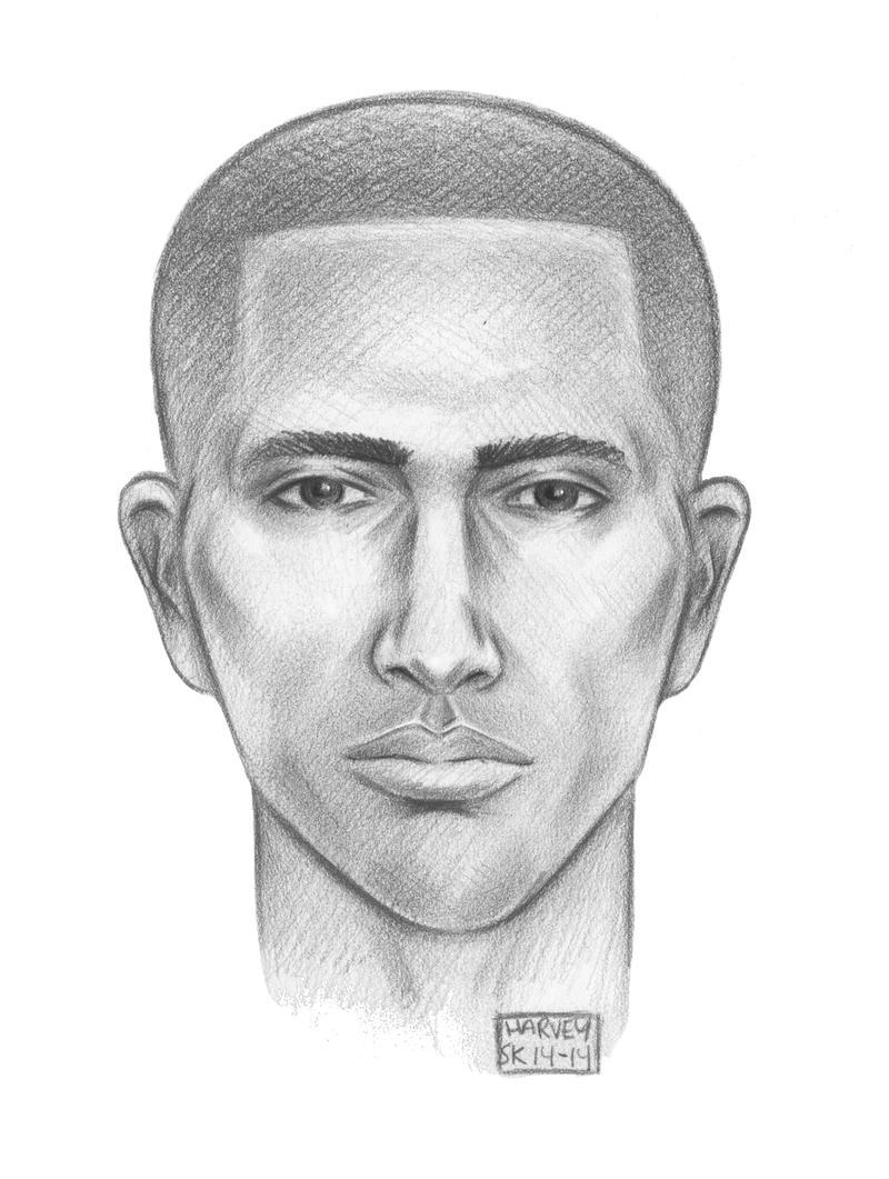 A sketch of the suspect in the Jan. 17 attack on Randy Gener in midtown Manhattan.