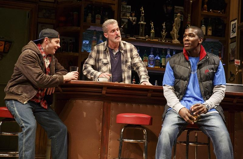 """Will Pullen, James Colby, and Khris Davis in """"Sweat,"""" written by Lynn Nottage and directed by Kate Whoriskey, running at The Public Theater."""